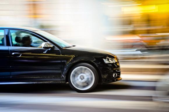 motion blur of a car in milan