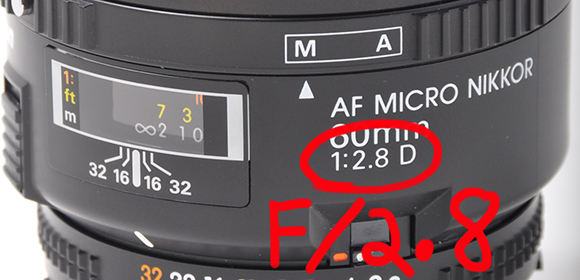 Nikon Micro Lens showing aperture range