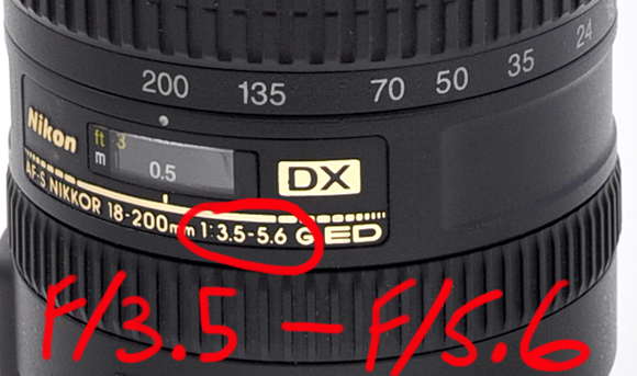 Nikon 18-200mm lens showing an aperture range of f/3.5 - f/5.6.
