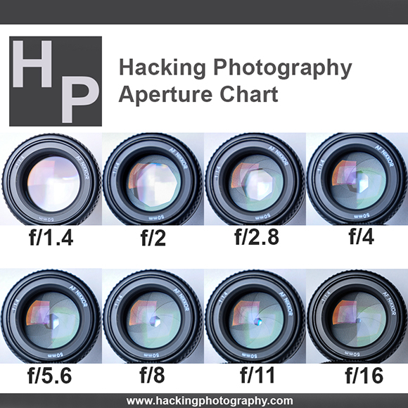 What is aperture? This chart shows the sizes of 8 different apertures