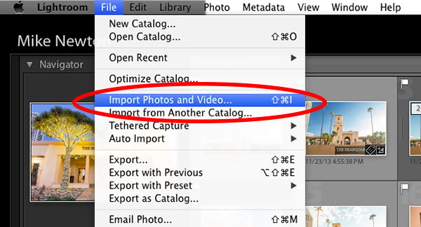 import photos into lightroom