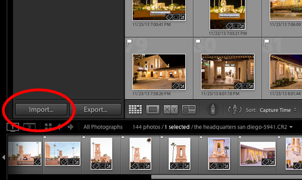 import photos to lightroom