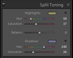 Split Toning Slider